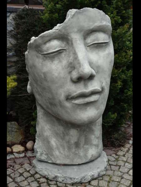Betonbüsten-Set - Gesichter 'Frau' und 'Mann' - Skulpturen - XXL-Produkt