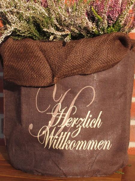 "Jute-Übertopf ""Herzlich Willkommen"""