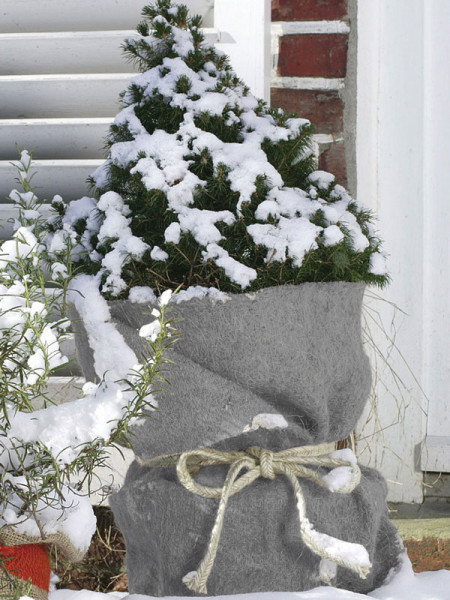 Jute-Filz Winterschutzmatte als Topfschutz