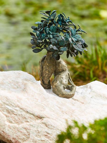 Bronzefigur Bonsai groß auf Findling(Art.Nr. 88791.1)