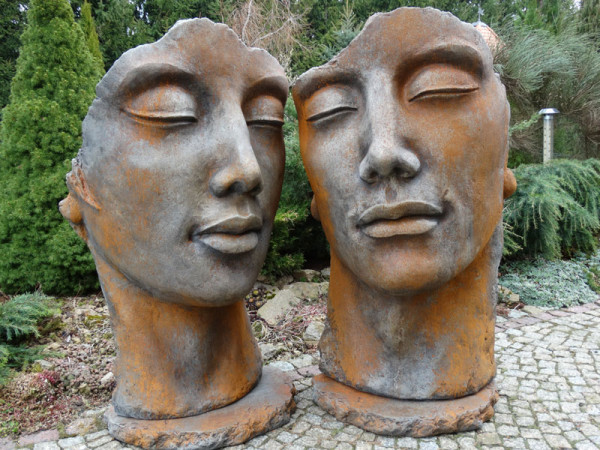 Betonbüsten-Set - Gesicht 'Frau' und 'Mann' mit Rosteffekt - Skulpturen - XXL-Produkt